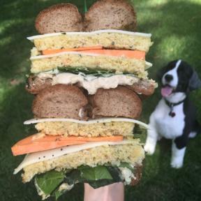 Gluten-free paleo everything bagel with veggie burgers