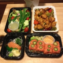 Gluten-free Asian food spread from Wei West