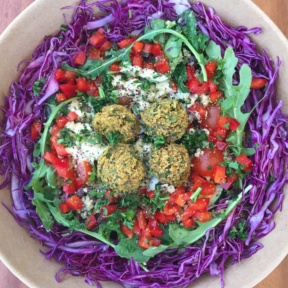 Gluten-free falafel salad from Wild Living Foods