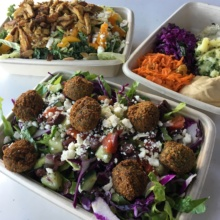 Gluten-free falafel, chicken, and hummus from Yalla Mediterranean