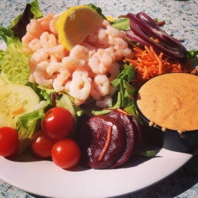 Gluten-free shrimp Cobb salad from Zelda's