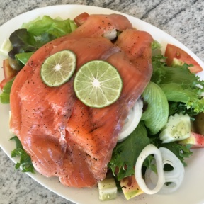 Gluten-free smoked salmon salad from Zing at Centara Grand