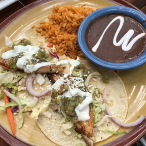 Gluten-free tacos with rice and beans from Zolo Grill