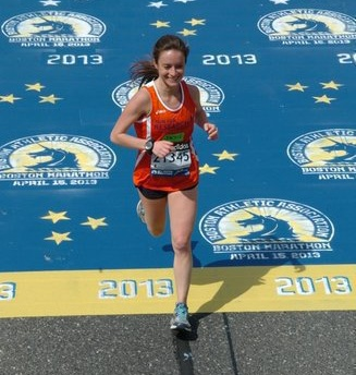 Jackie running the Boston Marathon in 2013