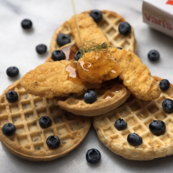 Gluten-free fried chicken and waffles by Van's