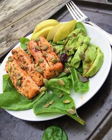 Healthy gluten-free salmon salad