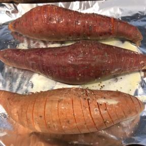 Making Hasselback Sweet Potatoes
