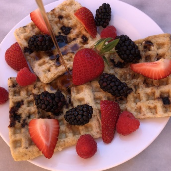 Gluten-free paleo waffles by KitchFix with berries