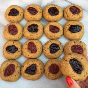 16 gluten-free Jam Thumbprint Cookies