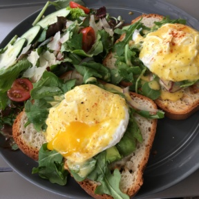Gluten-free eggs Benedict from Sugar and Scribe