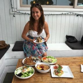 Jackie eating lunch at GOODONYA in Encinitas