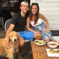 Jackie, Brendan, and Odie at GOODONYA in Encinitas
