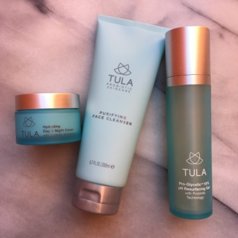 Skincare products from Tula
