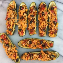 Gluten-free Mexican Zucchini Boats with vegan cheese