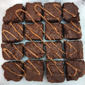 Paleo Nut Butter Brownies with nut butter drizzle