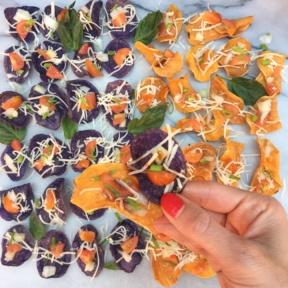 Bruschetta Bites on Purple and Orange Chips