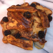 Caramelized Banana French Toast with maple syrup
