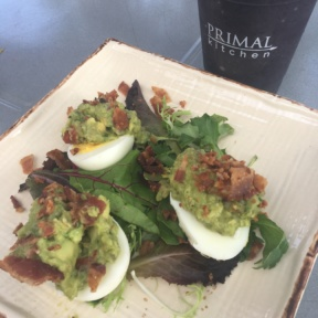 Paleo deviled eggs and smoothie from Primal Kitchen