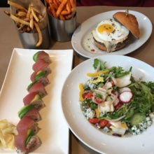 Gluten-free lunch spread from 5 Napkin Burger