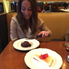 Jackie eating dessert at Nizza