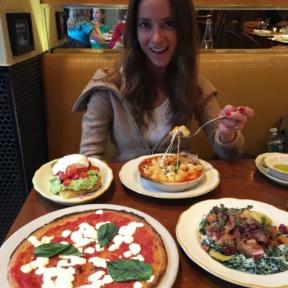 Jackie eating gnocchi from Nizza