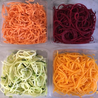 Butternut, beets, zucchini, and sweet potato spirals by Veggie Noodle Co