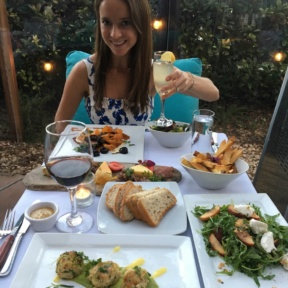 Jackie enjoying a gluten-free dinner at Aroha