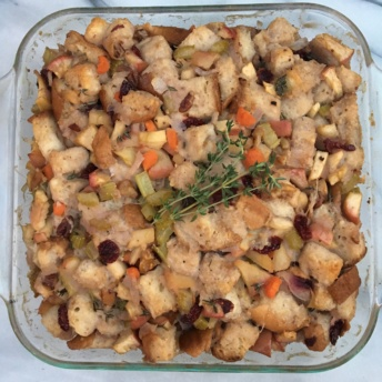 Thanksgiving Stuffing made with gluten-free bread