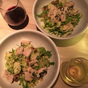 Brussels sprouts salad and wine from Bodega