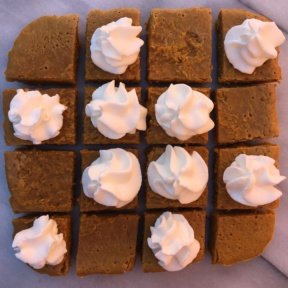 Gluten-free Pumpkin Squares with whipped cream