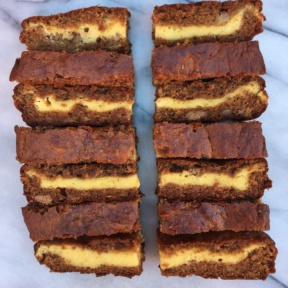 Slices of Cheesecake Stuffed Banana Bread