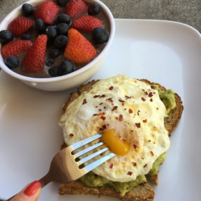 Gluten-free avocado toast with a soft egg from Granola Bar
