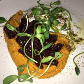 Beets with carrot hummus from Mill Street