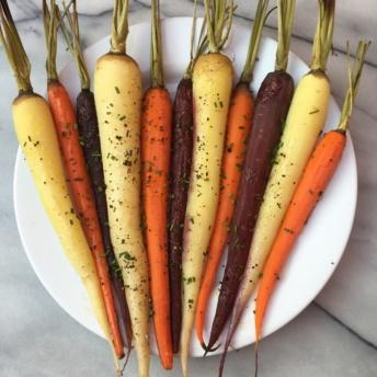 Gluten-free roasted rainbow carrots