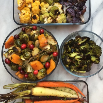 Roasted cauliflower, brussels sprouts, squash, carrots, and broccoli