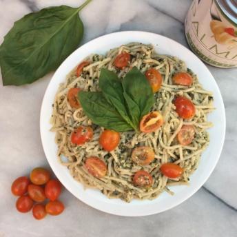 Gluten-free Palmini pasta with pesto sauce