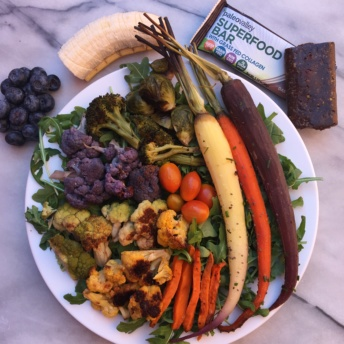 Gluten-free rainbow veggies salad with Paleo Valley bar