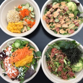 Four types of poke bowls at Sea Salt Poke