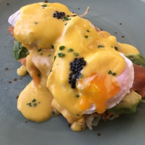 Smoked salmon eggs benedict from Cheeky's