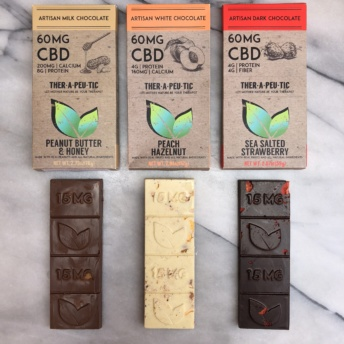 Gluten-free CBD chocolate from Thera Treats in 3 flavors