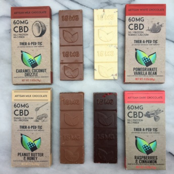 Four chocolate bars by Thera Treats
