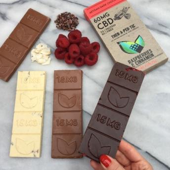 Dark chocolate bar with raspberries by Thera Treats