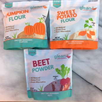 Pumpkin, sweet potato, and beet flour from Glean