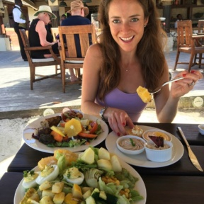 Jackie eating lunch at The Regency at Sandals