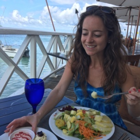 Jackie eating at The Regency at Sandals