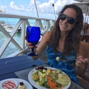 Jackie enjoying a gluten-free lunch at The Regency at Sandals