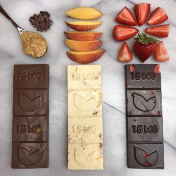 Gluten-free CBD infused chocolate in 3 flavors