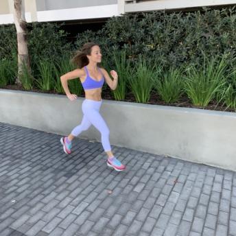 Jackie running in Marina del Rey