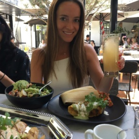Jackie eating at Gracias Madre