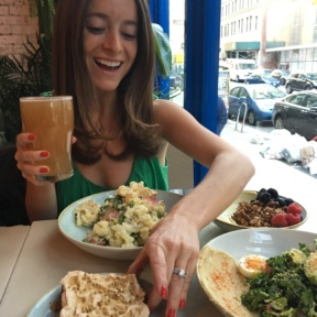 Jackie eating and drinking at Two Hands